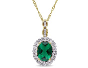 Created Emerald and White Topaz Drop Pendant Necklace 1 5/8 Carat (ctw) in 14K Yellow Gold with Chain