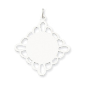 Sterling Silver Engraveable Polished Front/Satin Back Disc Charm