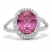 Sterling Silver Oval Simulated Pink Sapphire with Clear Cubic Zirconia Ring, 17mm