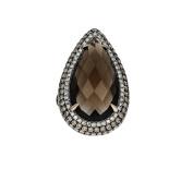 Women's 14k Rose Gold Smokey Topaz and Diamond Cocktail Ring