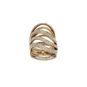 Women's 18k Yellow Gold and Diamond Crossover Cocktail Ring