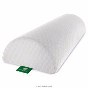Back Pain Relief Half-Moon Bolster / Wedge - Provides Best Support for Sleeping on Side or Back - Memory Foam Semi-Roll Pillow with Washable Organic Cotton Cover