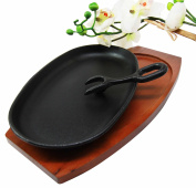 23cm Long Cast Iron Sizzling Fajita Japanese Steak Plate With Handle and Wooden Base