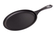 Victoria SKL-218 Oval Griddle Seasoned Cast Iron Fajita Skillet, Regular, Black