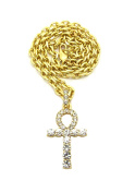 "Women's Egyptian Pave Ankh Pendant 4mm 18"" Link Chain Necklace in Gold Tone"