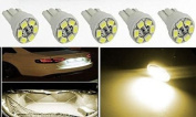 Partsbox 5pcs Warm White T10 Miniature Wedge PC194 168 W5W 6-SMD3528 LED Light Bulb Instrument Panel Gauge Cluster Dash Lighting Indicator Lamps