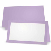 Lavender Place Cards - Flat or Tent Style - 10 or 50 Pack- White Front with Solid Colour Border Placement Table Name Seating Stationery Party Supplies