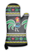 Gear New Oven Mitt, Polish Folk Art With Roosters On Black