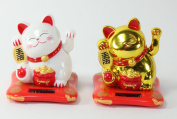 Set of 2 Small White & Gold Happy Beckoning Fortune Happy Cats Maneki Neko Solar Toy Home Decor Business Part Gift ~We Pay Your Sales Tax