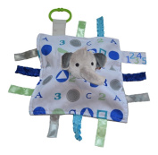 ABC Blue Elephant Sensory Educational Lovey Baby Jack Blanket