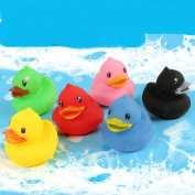 6pcs Colourful Duck Children Water Bath Toys Kids Float Squeeze Sound Rubber Beach Swimming Pool Baby Shower Toys