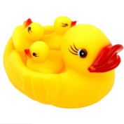 4pcs Cute Baby Girl Boy Bath Bathing Classic Toys Rubber Race Squeaky Ducks Set Yellow