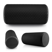 Oct17 Premium High Density EVA Yoga Grid Foam Roller Sports Back Trigger Muscle Pain Massage Therapy Gym Exercise Fitness - Black