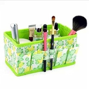 Bestga 2 PCS Makeup Cosmetic Box Bag Non-woven Fabrics Bright Organiser Multifunction Foldable Square MakeupstationeryStorage Container Case - Green
