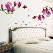 Coromose® Fresh Magnolia Flower Decal Removable PVC Wall Sticker Home Decor