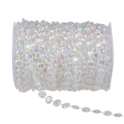 SumDirect 50m Colour Acrylic Crystal Like Beads By The Roll for Wedding Light Chandeliers and Party Decor