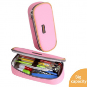 Pencil Case, Homecube Big Capacity Pen Bag Makeup Pouch Durable Students Stationery With Double Zipper, Pink