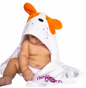 Baby Hooded Bath Towel - Cute Orange Puppy Dog Animal Design - Organic Cotton Material