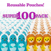 Squooshi Reusable Food Pouches | 100 Small Pouches + 100 Caps