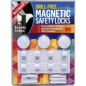 3 Keys & 8 Locks - NEW & IMPROVED! - Drill-Free Magnetic Safety Cabinet & Drawer Locks - Super Strength 3M Adhesive for Baby Proofing - Easy Tool-Free Installation.