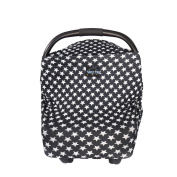 Baby Car Seat Canopy Star Design Modern Fabric Multi Use Nursing Car Seat Shopping Cart Cover + Bag Unisex Black & White Baby Shower Gift Boy & Girl Wind Dust Sun Proof Twinkle Star. Don't Miss Buy Now!