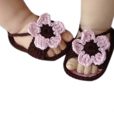 Fullkang Newborn Baby Lovely Knitting Lace Crochet Buckle Sandal Shoes
