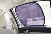 Qingsun 2pcs Black Side Sun Shade Rear Window Cover Mesh Visor Protector for car