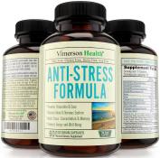 Vimerson Health Anti Stress & Anxiety Relief Supplement. Herbal Blend with Biotin, 5-HTP, Valerian, Lutein, Vitamins B1 B2 B5 B6, L-Theanine, St Johns Wort, Ashwaghanda, Chamomile, Niacin, Zinc & More
