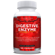 Digestive Enzymes 180 Veggie Capsules, Best Supplement with Probiotics, Natural Vegan Friendly