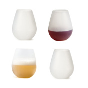 Joyoldelf Silicone Wine Glasses 350ml, Set of 4 - Food Grade Clear Silicone & Dishwasher Safe- Red Wine or White Wine, Beer, Whiskey or Any Beverage - Will Never Break. 100% Shatterproof - Drinkware Set for Camping, BBQ, Party Cups, Poolside.