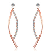 18K Rose Gold Plated Cubic Zirconia Drop Earrings(1.5 cttw)