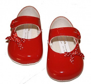 Baypods BP613 Baby Red Patent Shoe with Polka Dot Bow and Button Fastening. Offered to you by Mellow Be Age 6-12 months
