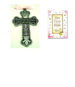 BABY Girl's First Bible & CRIB CROSS Gift Set - Bless This Child - BAPTISM Christening BOXED PINK