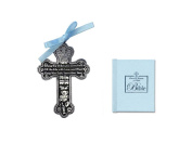 BABY Boy's First Little Bible & CRIB CROSS Gift Set - Bless This Child - BAPTISM Christening BOXED BLUE Ribbon