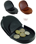 Mens Premium Quality Leather Coin Tray Purse Wallet in Black or Tan
