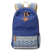 JSbetter Canvas Backpack,Dot Casual Lightweight Fashion Women Girl School Backpacks Vintage Travel Satchel Rucksack College Shoulder School Bag for Teen Girls,Blue