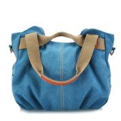 Moonsister Retro Vintage Women Girls Canvas Hobos Tote Shoulder Bag, Large Crossbody Everday Leisure Shopper Travel Bag Handbag, Blue