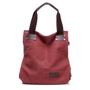 Moonsister Simple Casual Large Capacity Canvas Shoulder Bag for Women Girls, Crossbody Travel Beach Tote Bag Handbag, Red
