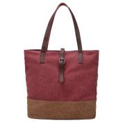 Moonsister Women Girls Leather Strap Canvas Shoulder Bag Tote Bag, Large Capacity Handbag Holdall Shopper Travel Beach Bag, Red