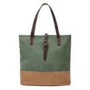 Moonsister Women Girls Leather Strap Canvas Shoulder Bag Tote Bag, Large Capacity Handbag Holdall Shopper Travel Beach Bag, Green