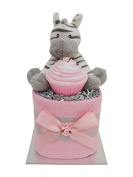 Lovely Pink Zebra Themed Square Mini New Baby Girls Nappy Cake Baby Shower Gift - with FREE UK Delivery!