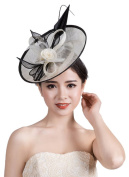 La Vogue Lady Girls Alloy Fascinator Corsage Hats Headdress Brooch Feather Hair Decor Clip Pin Black