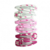 6 Barrettes Hair Sofa - White Painted Metal Pink Butterfly