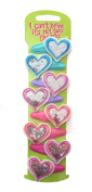 8 Pack of Sequin Heart Design Girl's Hair Clips Hair Grips Slides Snap on Clips Hair Accessories