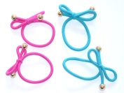 Cool Coloured Thick Snag Free Endless Hair Elastics Bobbles Hair Bands In A Bow With Silver Ball Ends ( A simple and chic way to update your look and a great alternative to plain old hair accessories), set of 4