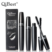 QiBest 2Pcs/Set 3d Mascara Fibre Lashes Cosmetics Black Waterproof Double Lash Eyelash With Transplanting Gel For Eyes Beauty