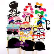 JZK® Paper Photo Booth Props Moustache Mask Bow Lips Hat On Stick Party Birthday Wedding (UK Location)