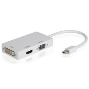 . 3 In 1Mini Display Port DP Thunderbolt to DVI VGA HDMI Adapter Cable for Apple, White