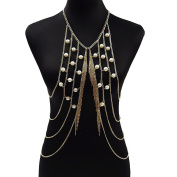 lureme® Golden Crossover Harness Fringe Vest Sexy Bikini Body Chain Jewellery