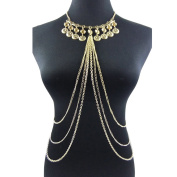 lureme® Women Sexy Body Jewellery Gold Tone Tassel Long Body Chain